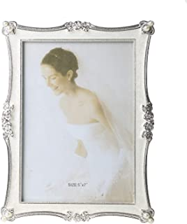Memorecoder Classic Style Resin Picture Frame with Acrylic Pearl Decor High Definition Glass for Table Photo Display, 5x7, White