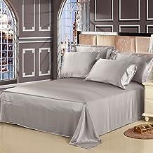 Lilysilk 1B02-06-KN 100% Mulberry Silk Sheets Set 4pcs 19 Momme, King, Silver Gray