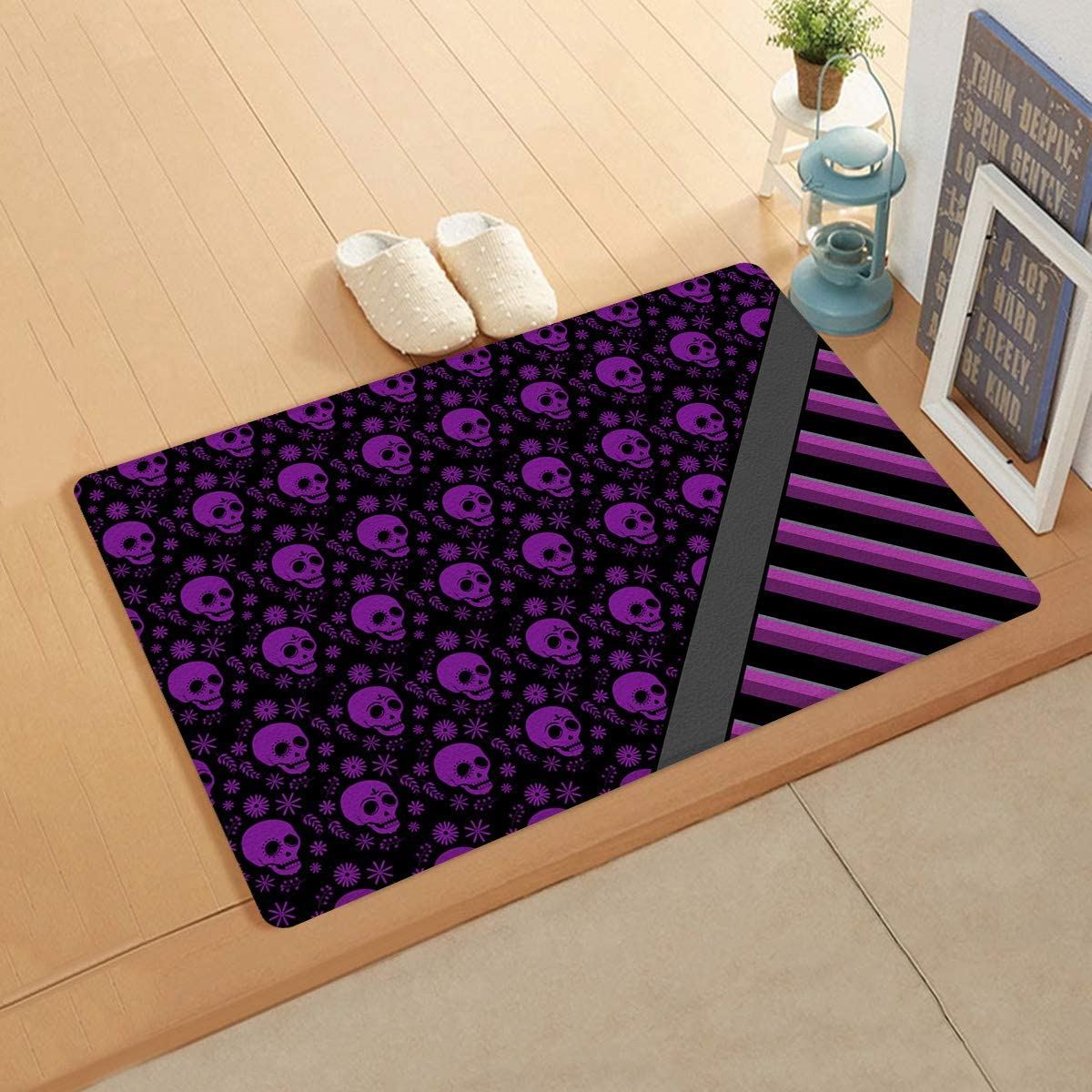 Free Shipping Cheap Bargain Gift CyCoShower Doormat Welcome Door Mat In a popularity 18x30Inch Skull Leather Rugs