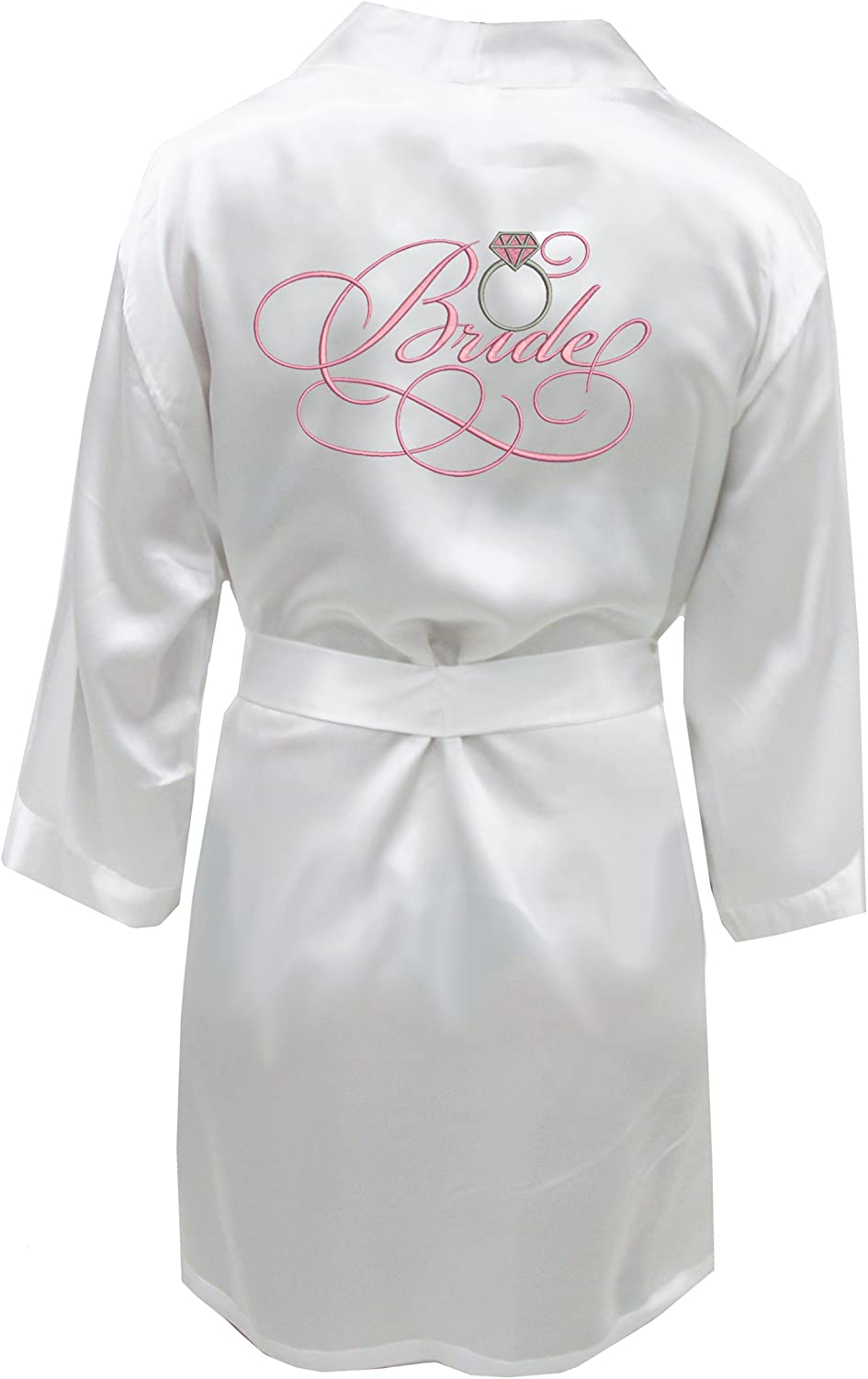 Satin Bridal Robe with Ring  White and Pink
