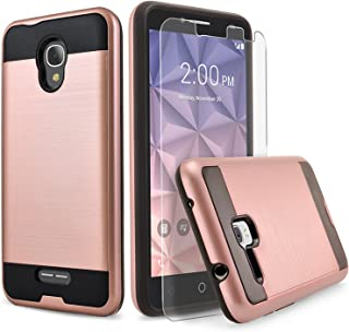 Alcatel IdealXcite Case, Alcatel Raven LTE (A574BL) Case, Alcatel Verso/CameoX Case, Circlemalls Shockproof Phone Cover with [Tempered Glass Screen Protector] and Stylus Pen (Rose Gold)