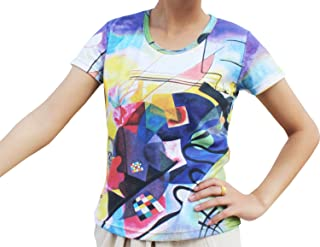 Raan Pah Muang RaanPahMuang Wassily Kandinsky's Yellow, Red, Blue Painting On Ladies T-Shirt
