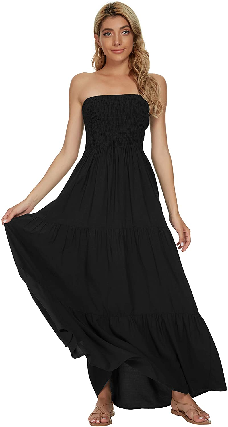 Panlido Women's Summer Boho Casual Maxi Long Dress Solid Color Strapless Party Beach Dress