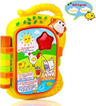 M SANMERSEN Musical Learning Friends 5 Story, Spanish and English LED Light Preshcool Learning Book