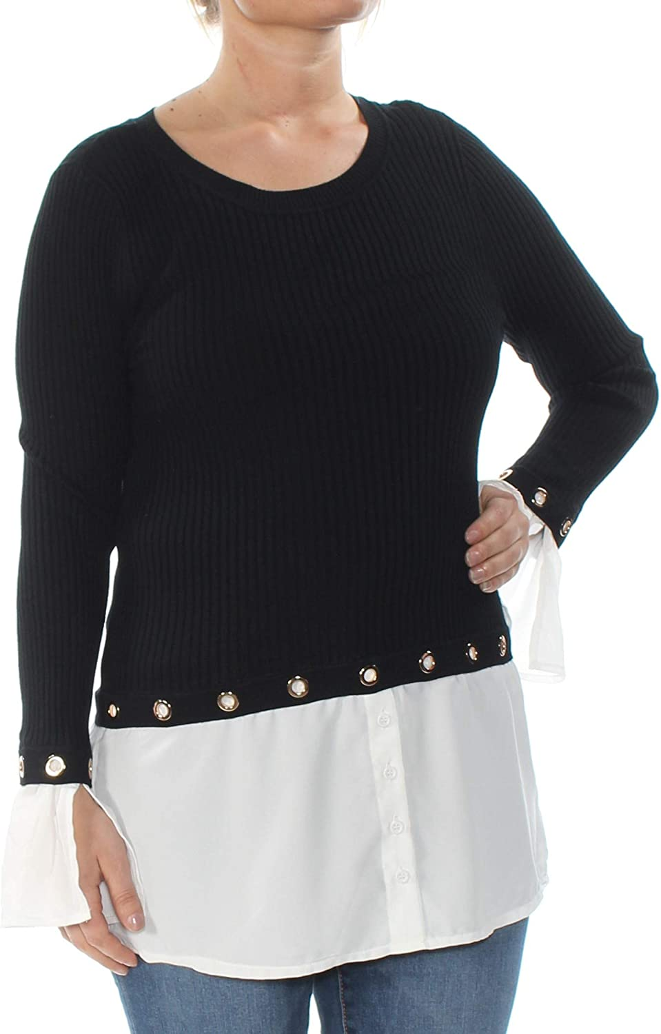 INC International Concepts Women's GrommetEmbellished Layered Look Sweater