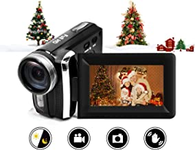 Video Camera Camcorder Vmotal 12MP Rechargeable Digital Camera Recorder Full HD 1080P 2.7 Inch 270 Degree Rotation LCD Flip Screen for Kids/Beginners/Seniors (Black)