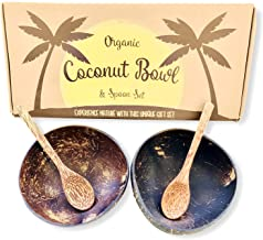 Coconut Bowls and Coconut Spoons Gift Set (Set of 2 Coco Bowls + 2 Coco Spoons) - 100% Natural - Vegan - Hand Made - Eco F...