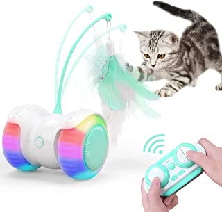 REMOKING Interactive Cat Toys,Automatic Cat Feather Toy with Two Mode,Colorful LED Light,Electronic Pet Toy with Large Cap...