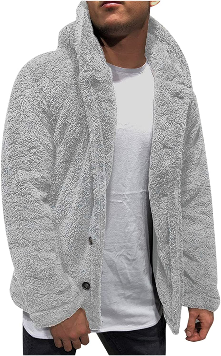 XXBR Fleece Cardigan Sweater for Mens, Long Sleeve Hooded Fluffy Jackets Double-sided Jumper Cardigans Casual Outerwear