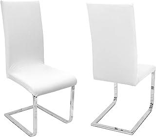 Beautex - Juego de 2 fundas para sillas, elásticas, bielásticas, diseño y color a elegir, Elástico, Diseño: Johanna, color: blanco., universal