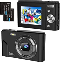 """Sponsored Ad – Digital Camera 1080P FHD 36 Megapixel Video Cameras with 16X Digital Zoom, Compact Camera 2.4"""" LCD Travel P..."""
