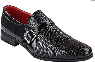 Chaussure Mocassin pour Homme Verni en Couleur Blanc et Noir Chic,d/écontract/ée et Confortable