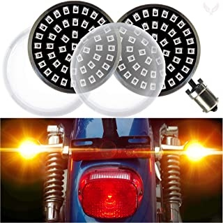 Eagle Lights Generation II Midnight Edition Rear 1156 Amber 2 Inch LED Turn Signals with Clear Lenses for Harley Davidson