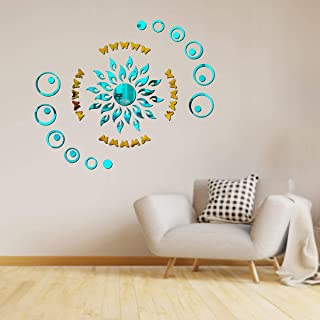 Best Decor Sun Flame 20 Ring Dot Blue with 20 Butterfly Golden Code 480 Acrylic Mirror 3D Wall Sticker Decoration for Kids...