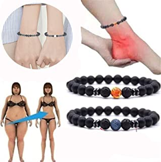 Zhengbenchang 5pcs Anti-Swelling Black Obsidian Anklet, Couple Adjustable Weight Loss Magnet Anklet, Imán Tobillera Piedra...