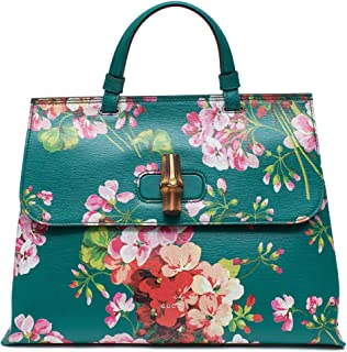 ca24c3910a9c Gucci Teal Green Shanghai Blooms Top Handle Flower Bag Handbag Authentic  Italy New