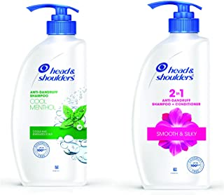 Head & Shoulders Cool Menthol Shampoo, 675ml & 2 in 1 anti-dandruff shampoo + conditioner smooth & silky, 675 ml Combo