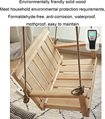 2-Seater Outdoor Porch Swing Chair, Children's Leisure Hanging Chair Rocking Chair with slatted Design, Hanging Wooden Ha