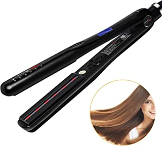 PARWIN Infrared Flat Iron 1 1/4 Inch Digital Hair Straightener Iron with Ceramic Tourmaline Plate Temperature Control Hair Iron Christmas Gift Black