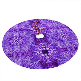 NSDIGV05 Glows in The Dark - Purple Christmas Holiday Tree Skirt, Round 35.5 Inches, Simple Christmas Tree Holiday Decoration.