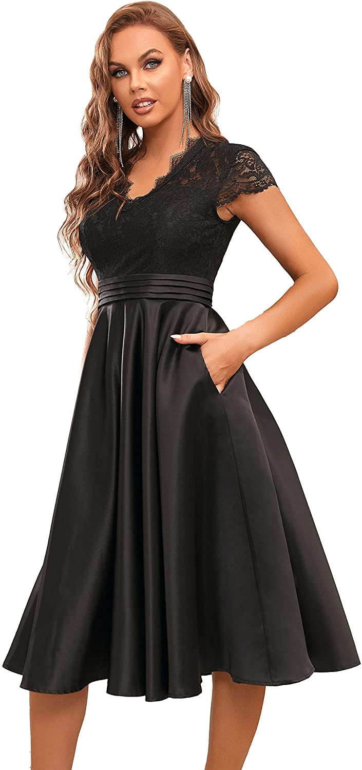 Ever-Pretty Women's A-line Lace See-Through V-Neck Pleated Wedding Party Cocktail Dress 40400