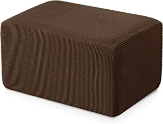 Subrtex Stretch Storage Ottoman Slipcover Spandex Elastic Rectangle Footstool Sofa Cover for Living Room (Oversize, Coffee)