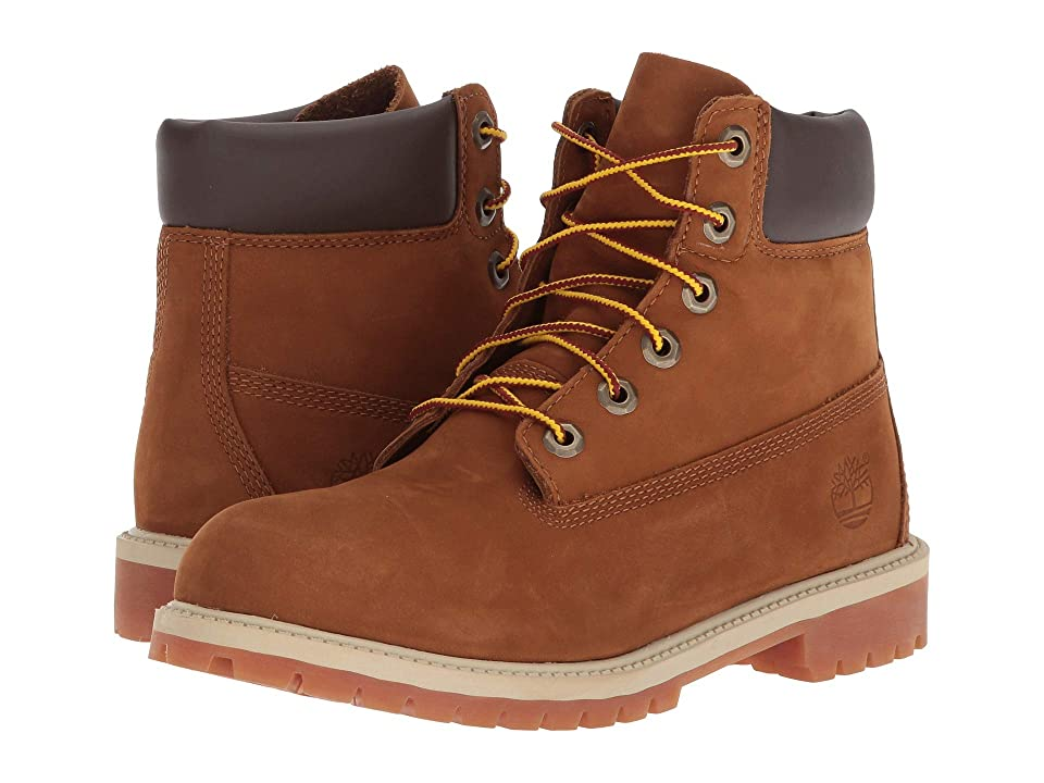 Timberland Kids 6 Premium Waterproof Boot Core (Big Kid) (Rust Nubuck with Honey) Boys Shoes
