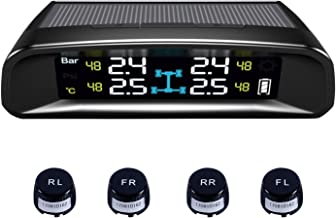 TYDO Solar Powered TPMS Wireless Tire Pressure Monitoring System 4 Sensors DIY Tire Gauge with Auto Alarm System Real-time LED Displays for RV Trailer, External Sensor
