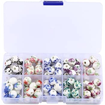 Wholesale 12mm Charms 10//20Pcs Flower Bulk Round Ceramic Loose Spacer Beads