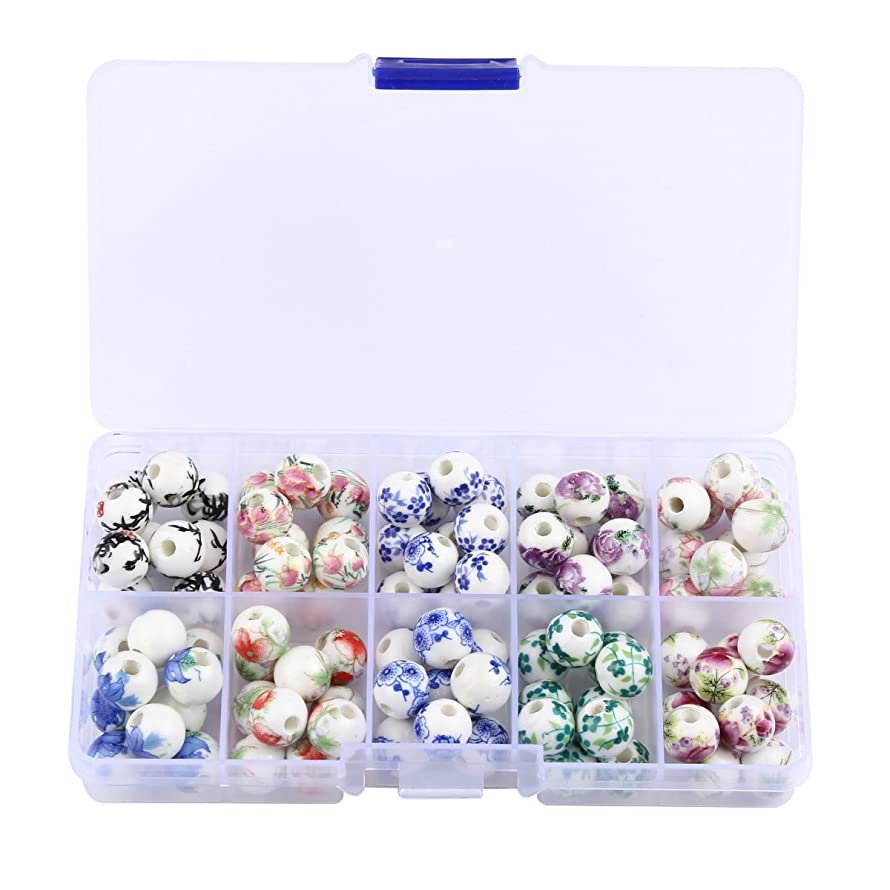 10mm Chinese Stlye Flower Ceramics Round Loose Beads - 10 Colors Traditional Porcelain China Beads for DIY Jewelry Accessories