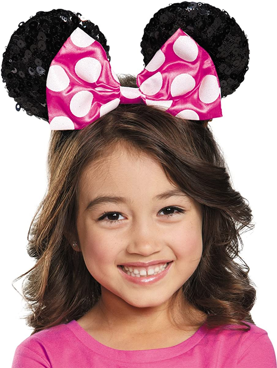 Disguise Girls' Pink Minnie Mouse SEAL limited product Ears Accessory Courier shipping free shipping Costume Sequin