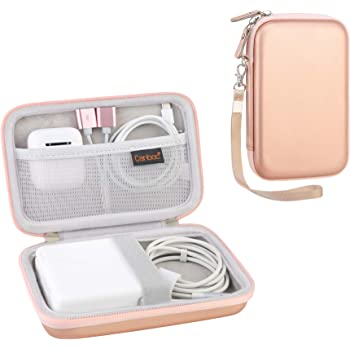 Canboc Carrying Case for MacBook Air Pro Charger MagSafe/MagSafe 2 Power Adapter, iPhone 12/12 Pro MagSafe Charger, USB C Hub, Type C Hub, USB Multiport Adapter, Hard EVA Shockproof Pouch, Rose Gold