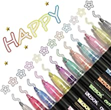 Dazzle Markers, Double Line Outline Pen Markers, 12 Colors Marker Pen Magic Shimmer Paint Pens for Highlight for Drawing/P...