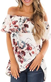Asvivid Womens Off The Shoulder Short Sleeve Tops Pop Pop...