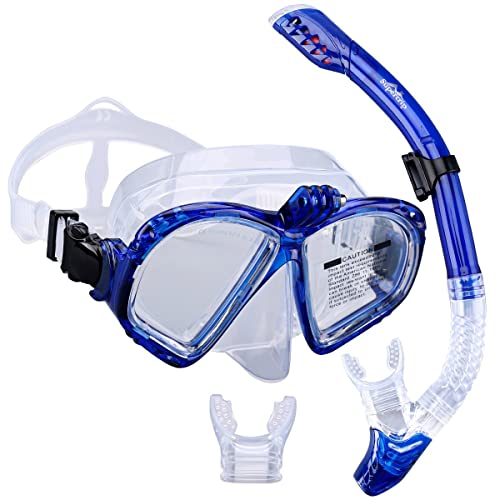 098f784c9a68 Supertrip Premium Snorkel Set Adult with 2 Mouthpieces Diving Mask  Snorkeling Diving Swimming Goggles Mask Dry
