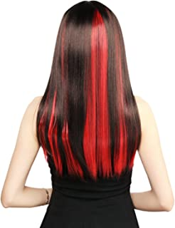 Neitsi 20inch Synthetic Clip on in Hair Colored Highlight Hair Extensions Multiple Colors (Red#)