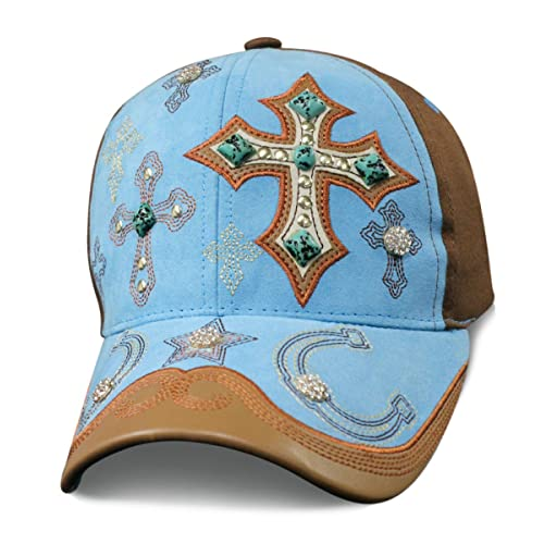 b079fda87c Turquoise Cowgirl Crosses & Horseshoes Baseball Cap with Cross Turquoise  Stones and Bling Faux Suede with