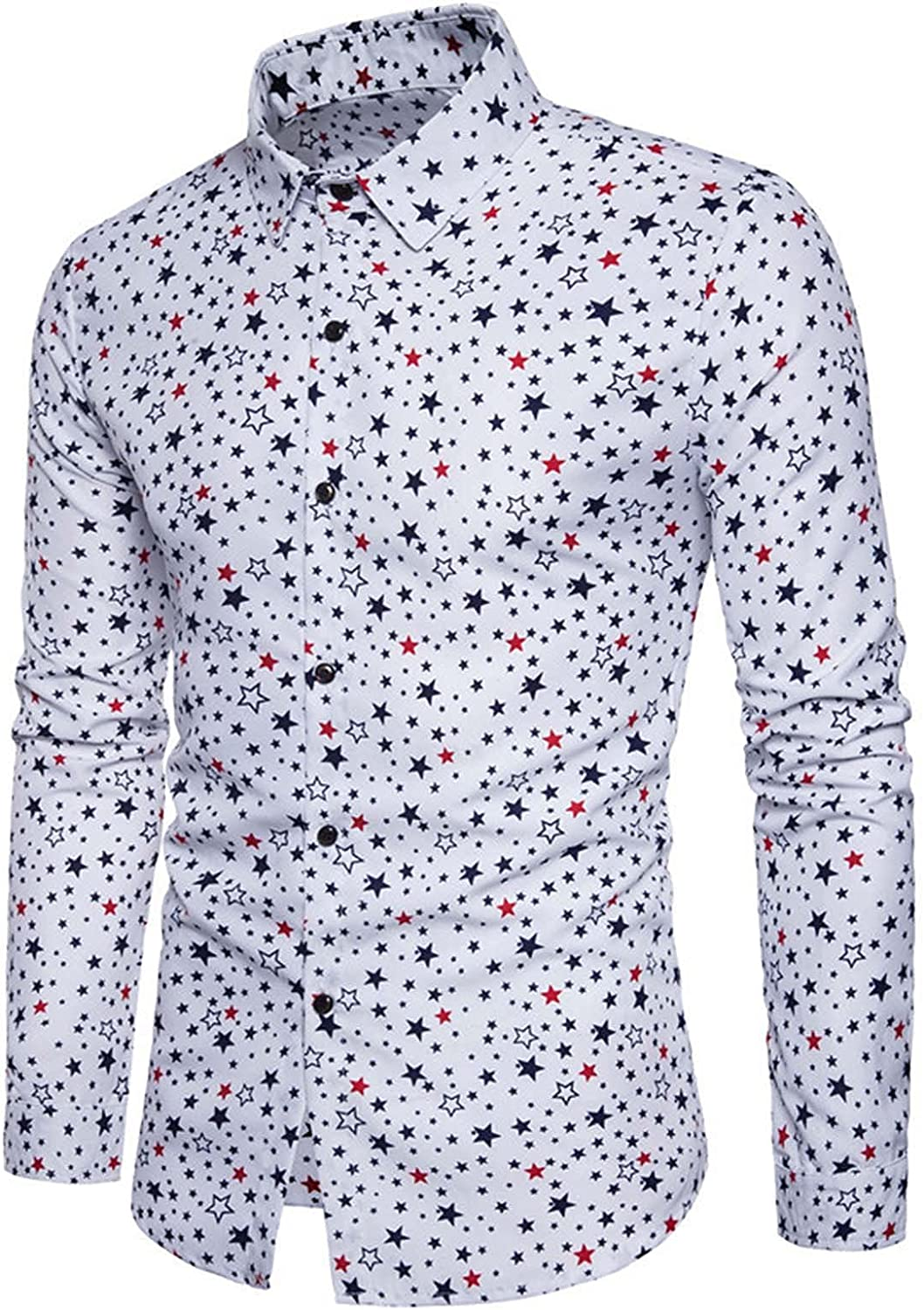 Fashion Long Sleeve Fitted Shirts for Men Retro Floral Printed Button Down Blouse Casual Dress Shirts for Holiday