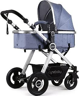 Newborn Baby Stroller Pram Stroller Folding Convertible Carriage Luxury Bassinet Seat Infant Pushchair with Foot Muff(Blue)