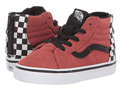 Vans Kids Sk8-Hi Zip (Infant/Toddler) ((Suede) Redwood/Black) Boys Shoes