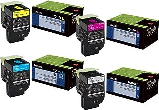 Lexmark 70C1HK0 70C1HC0 70C1HM0 70C1HY0 CS310 CS410 CS510 Toner Cartridge Set (Black Cyan Magenta Yellow, 4-Pack) in Retail Packaging