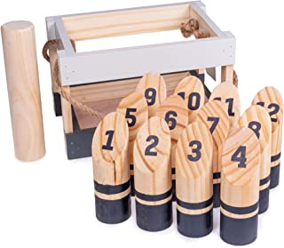 Brybelly Molkky   Portable Outdoor Lawn Game   Unique, Traditional Family Game   Premium Wooden Tossing Game Set Perfect for Parties, BBQs, Cookouts, Yard Activities   Comes with Carrying Crate