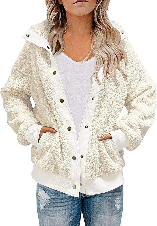 Womens Fleece Button Down Hoodie Pullover Coat Casual Lantern Long Sleeves Warm Hooded Outwear Jacket Tops