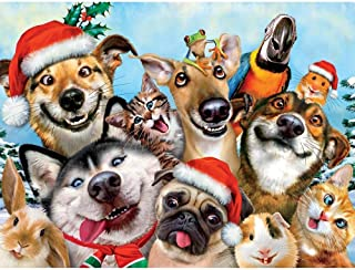 Christmas Selfies: Christmas Doggy Selfie From the Backyard : Ceaco 550 Piece Jigsaw Puzzle