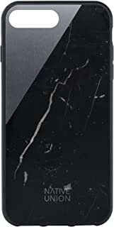 Native Union CLIC Marble Case - Handcrafted Real Marble Drop-Proof Protective Cover with Metal Slash for iPhone 7 Plus, iPhone 8 Plus (Black)