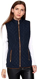 Women's Lightweight Gilet,Contrast Quilted Zip Up Vest Outwear with Zip Pockets