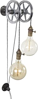 West Ninth Vintage Iron Pipe Industrial Wall Pulley Light (2 Lights)