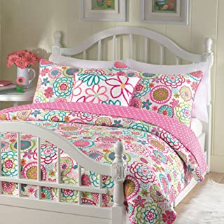Cozy Line Pink Floral Polka Dot Reversible Quilt Bedding Set, Coverlet, Bedspreads (Twin - 2 Piece Quilt Set: 1 Quilt + 1 Standard Sham)