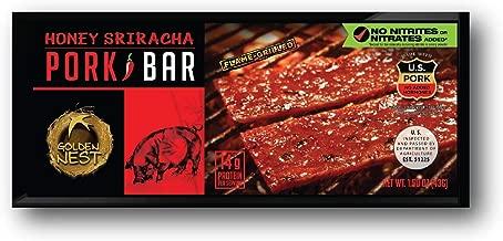 Golden Nest Pork Jerky Bar, Gluten Free, Healthy Meat From Gourmet USA, Non-GMO Honey Glazed (1.5 oz.) (Honey Sriracha, Pack of 5)