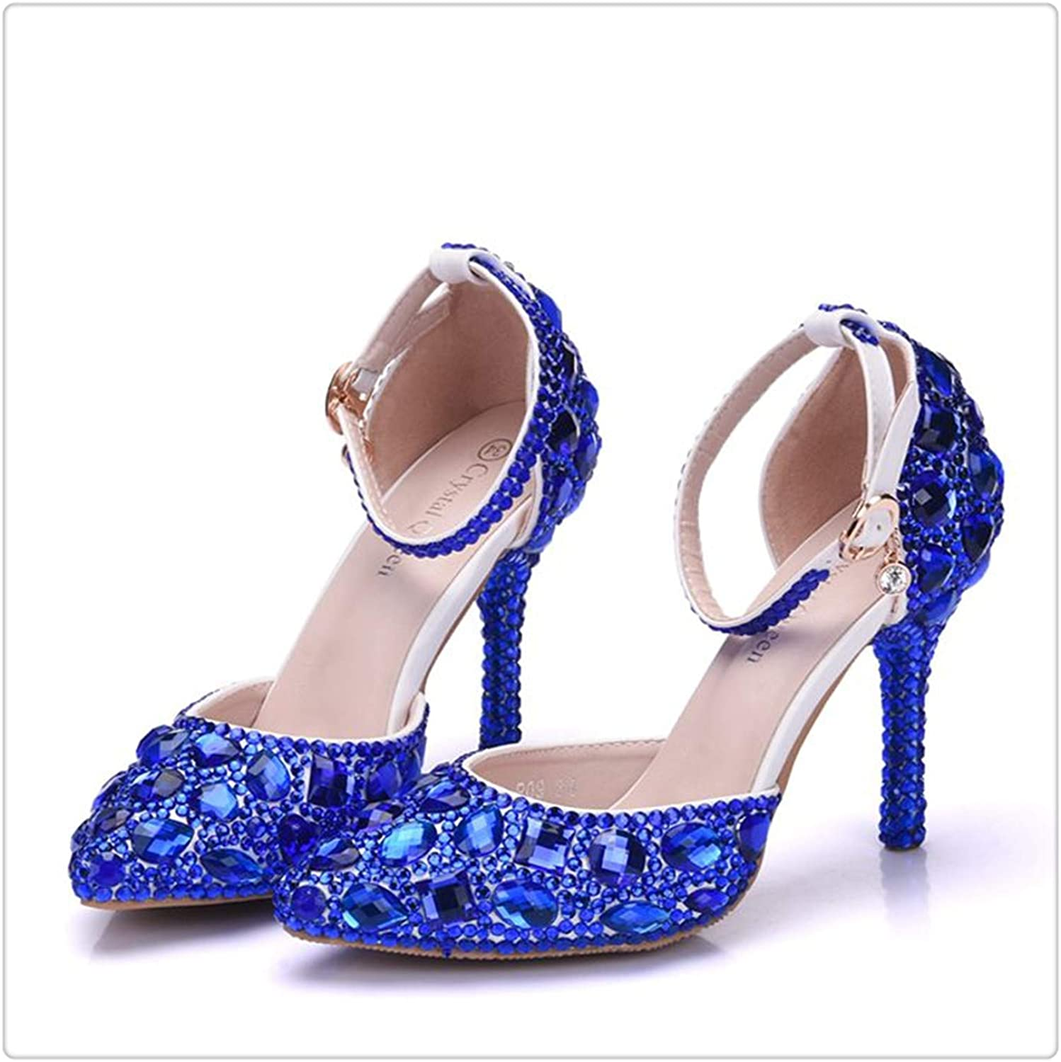 QUGKOP& Women Wedding shoes Sweet Rhinestone Bride shoes Princess Water Drill Dress shoes